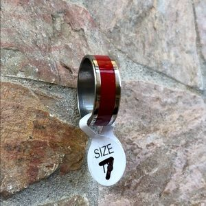 Red Stainless Steel Ring Size 7